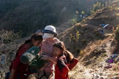Seattle Filmmaker Amy Benson in Nepal with Shanta's Darnal's sisters. (Photo by Ram Kumar Darnal)