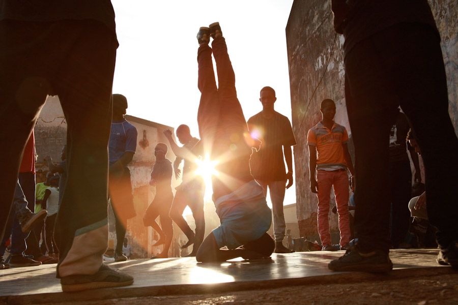 Break dancing in Uganda during the Obumu Media Lab workshops earlier this year. (Photo by Scott Macklin)