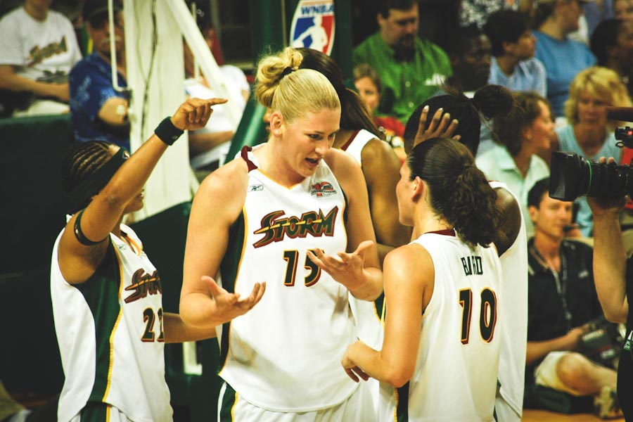 1777a708f0 Australian superstar Lauren Jackson (center) discusses strategy with Sue  Bird during a 2006 Seattle Storm game. (Photo from Wikipedia)