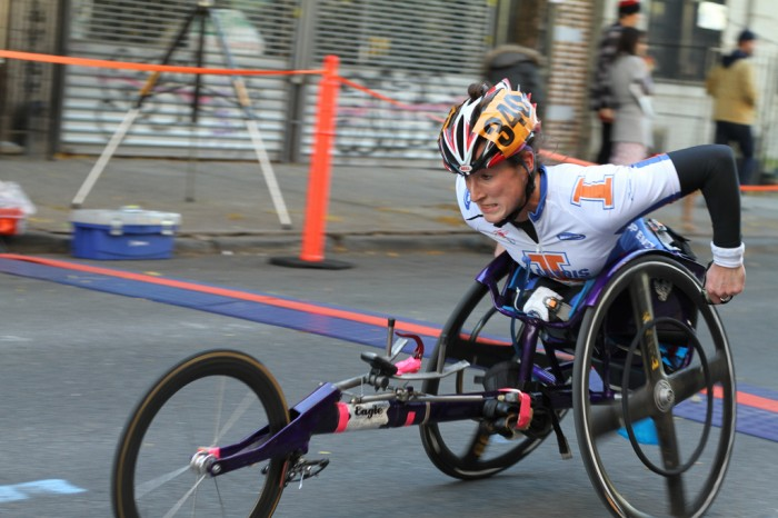 A New York City Marathon competitor uses a racing wheelchair.