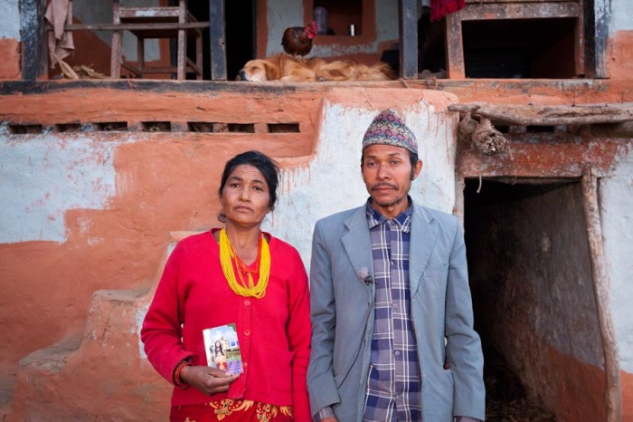 Shanta's parents, Sushila Darnal (mother) and Chhabilal Darnal (father), live in a small village in the Ramechhap District of Nepal about 160 miles from the capitol, Kathmandu. (Photo by Scott Squire)