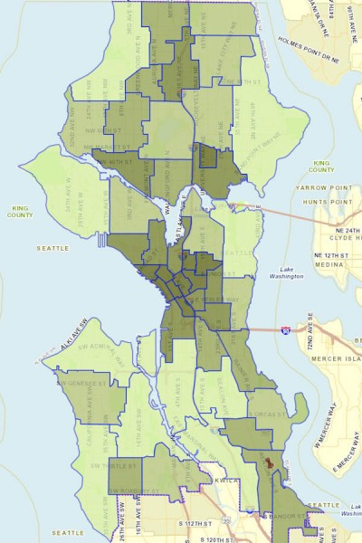 "Map of Seattle showing major crimes in 2012 by neighborhood reveals ""dangerous"" areas of Southeast Seattle have lower crime rates than Fremont and the U District. (Map via Seattle.gov — darker areas indicate more reported crimes)"