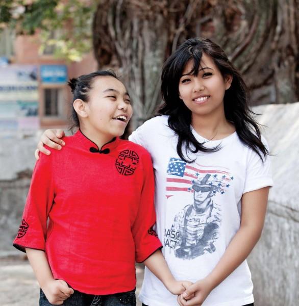 Supriya Tamang with her sister Amrita (Photo by Sampurna Shrestha for Navyaata Magazine)