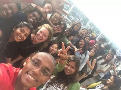 Selfie by students group studing in UW in seattle...