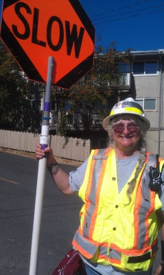 Smiley Seattle! Women at work in the construction site still smiling to the passerbys