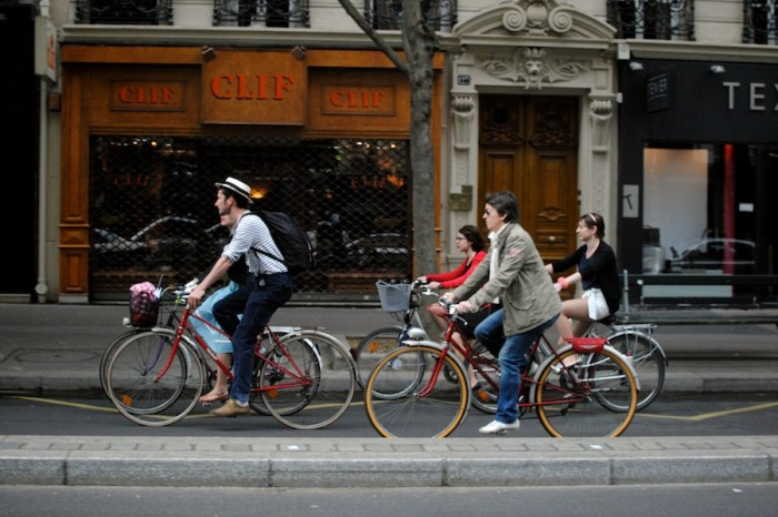 Cyclists in Paris, where a fashionable and widespread biking culture is enjoyed by everyone, from urban professionals to Tour de France junkies. (Photo by Molly Goren).