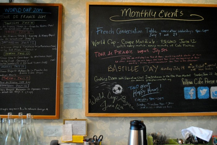Café Presse on Capitol Hill hosts an ongoing program of French-related events and screenings, and is the city's only Parisian-style happy hour offering bottles of wine to drink on the premises or take home, at wholesale prices. (Photo by Anna Goren)