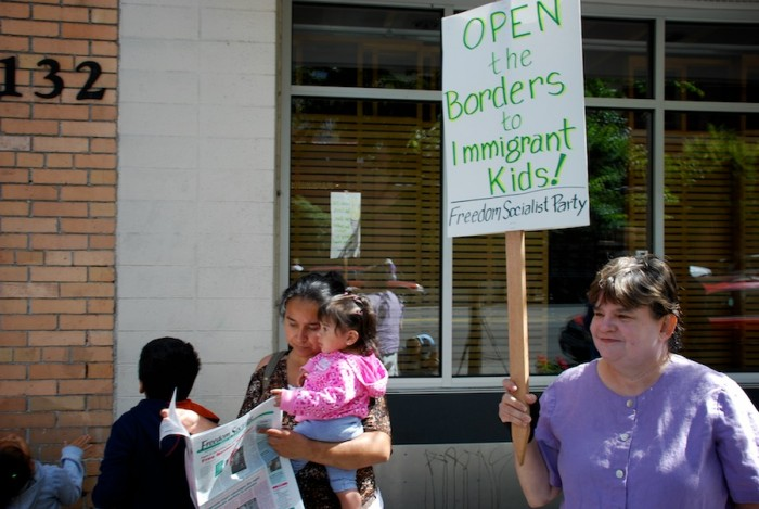 Protesters outside the Mexican Consulate last week end in response to anti-immigration sentiments aiming to deport minors to their home countries. (Photo courtesy Freedom Socialist Party)