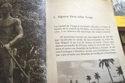 A Mexican history book showing the famous statue of Gaspar Yanga in the town that was named for him. (Photo by Reagan Jackson)