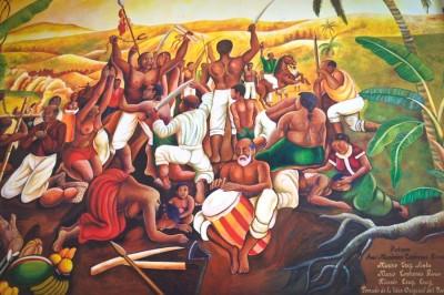 "A painting in the Palmillas Musem depicts the slave revolt in 1609 that lead to Yanga becoming ""el primer pueblo libre de los Americas."" (Photo by Reagan Jackson)"