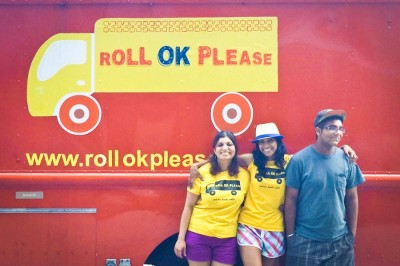 Roll OK Please founder Shama Joshi (center) flanked by helpers Seema Pai and Mani Singh. (Photo by Ana Sofia Knauf)