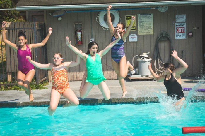 Campers hit the pool at Camp Brotherhood in Mount Vernon. (Photo by Deborah Espinosa)