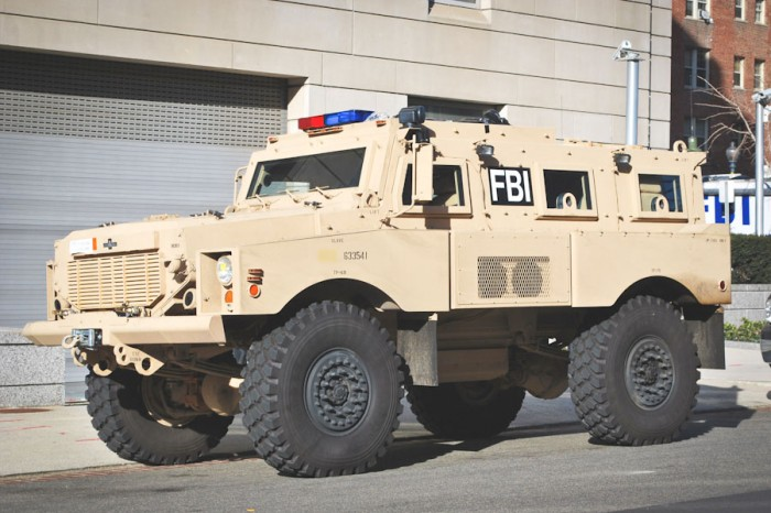 An MRAP (Mine Resistant Ambush Protected Vehicle) returned from war in Iraq and pressed into service for the FBI. Seventeen local police departments in Washington state have ordered these kinds of vehicles through a free Defense Department program. (Photo via Wikipedia)