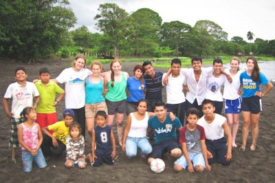 A youth delegation from Bainbridge Island after a beachside soccer game with Ometepe Islanders. (Photo courtesy Emma Spickard)