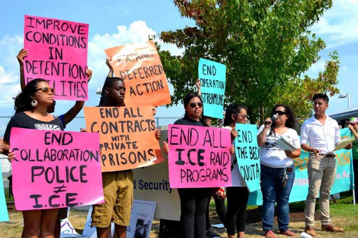 An August 2nd demonstration in support of hunger strikers at the Northwest Detention Center. (Photo by Sam Smith)