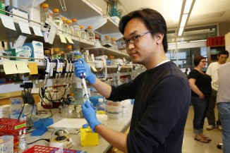 David La at the UW's Baker Laboratory is part of a team working on potential Ebola treatments, but they're also crowdsourcing ideas over the Internet relating to a cure. (Photo by Mark Harrison / The Seattle Times)