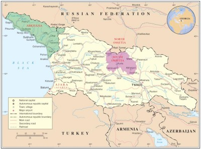 A map of Georgia showing the tiny breakaway regions of Abkhazia and South Ossetia. (Map via Wikipedia)