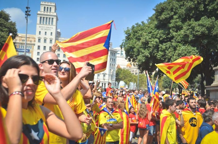 Demonstrators gathered last week at La Plaça de Catalunya in Barcelona to celebrate La Diada, a regional holiday commemorating the day the city fell to the Spanish in the War of Spanish Succession. (Photo by Seth Halleran)
