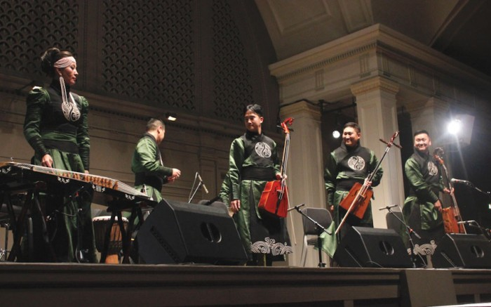 Agra Bileg receives one of several standing ovations during their performance at Town Hall Seattle. (Photo by Aida Solomon)