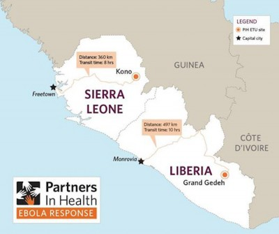 Parnters in Health, an NGO doing Ebola relief in West Africa released this map, emphasizing the difficulty of transporting supplies and personnel to the effected areas.