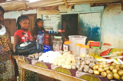 A market stall in Grand Gedeh County, Liberia, which is so far still relatively Ebola-free and remains under quarantine. (Photo by Karin Huster)