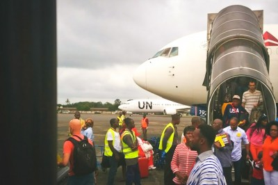 The last Delta flight to Monrovia, Liberia arrives last week, carrying aid worker Karin Huster. (Photo by Karin Huster)