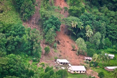 A landslide in Tukuraki village shows the impacts of climate change in Fiji beyond rising sea levels. (Photo by Janet Lotawa)