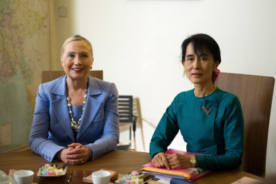 Burmese opposition leader Aung San Suu Kyi with then Secretary of State Hillary Clinton. After almost 15 years under house arrest by the military junta, Suu Kyi was elected to Burmese Parliament in 2012. (Photo via US State Department)