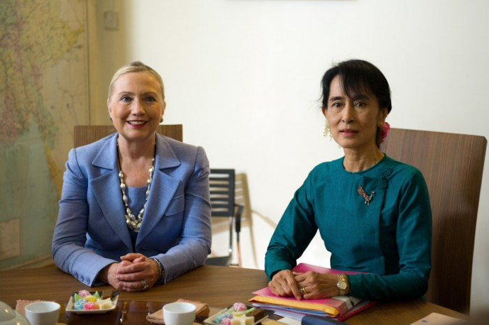 Burmese opposition leader Aung San Suu Kyi with then Secretary of State Hillary Clinton in 2010. After almost 15 years under house arrest by the military junta, Suu Kyi was elected to Burmese Parliament in 2012. (Photo via US State Department)