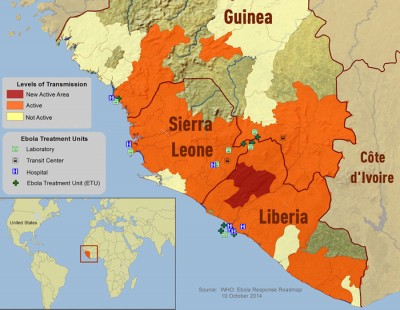 With more than 4000 cases and 2500 deaths, Liberia has been hardest hit by the outbreak. (Map from Centers for Disease Control and Prevention)