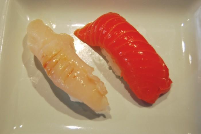 Basic geoduck and salmon sushi at Shiro's. (Photo by Ana Sofia Knauf)