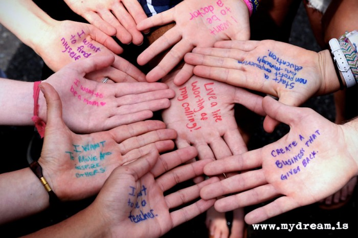 #DreamsUnlimited attendees in Bellingham share their dreams by writing them on their hands. (Courtesy photo)