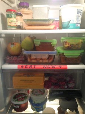 After completing the Food to Good to Waste audit, Gina VanLoon took the advice on King County's website and designated an Eat Now shelf in her refrigerator. It works well, she says, because her kids can easily open the fridge and know exactly what will go bad if not eaten soon. (Photo courtesy Gina VanLoon)