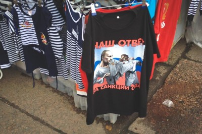 """Our answer to sanctions"" A t-shirt on sale in Crimea shows Putin using his judo skills on President Obama. (Photo by Valeria Koulikova)"