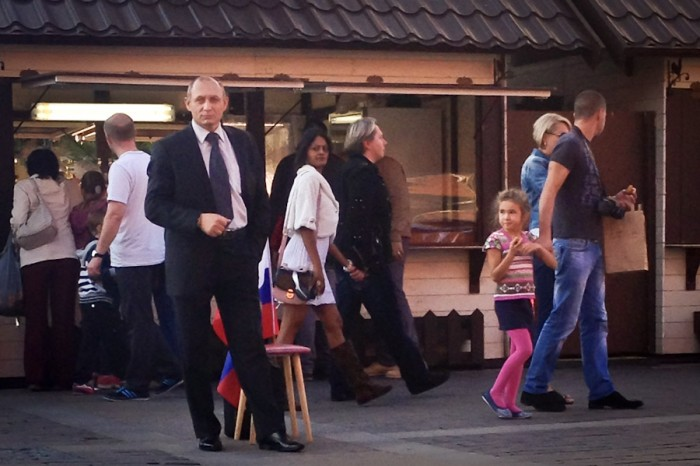 A Putin impersonator in Moscow's Red Square. (Photo by Valeria Koulikova)