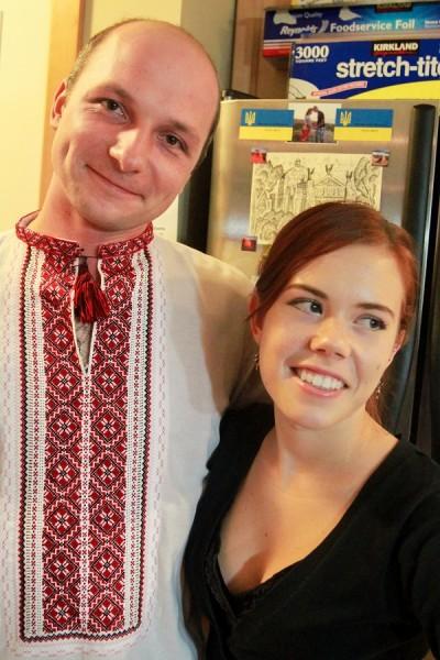 Mariya laughs about her husband's enthusiasm to wear his favorite traditional Ukrainian shirt. (Photo by Kseniya Sovenko)