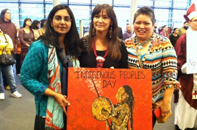 Day co-sponsor city council member Kshama Sawant with artist and activist Zona Shroyer (middle) and Renee Roman Nose (right). (Photo by Christina Twu)