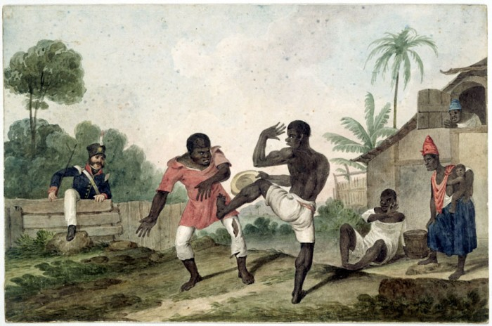 An 1824 painting by Augustus Earle depicting an illegal capoeira-like game in Rio de Janeiro. (National Library of Australia, Canberra)
