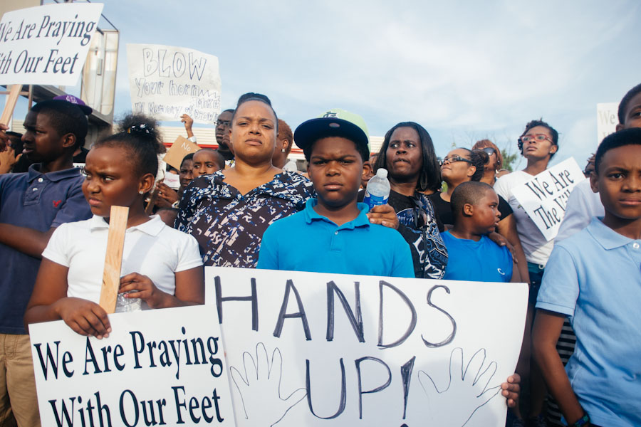 Residents of Ferguson, MO took to the streets in August after unarmed teenager Mike Brown was shot by police. (Photo by Jamelle Bouie)