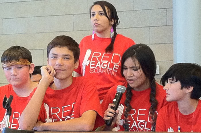Youth panelists from the Red Eagle Soaring arts education program represent a couple of hours before the Indigenous People's Day resolution is signed. From left to right, Bear VanSenus Lonefight (Snohomish), Tony Brown-Mather (Tsimshian) , Areal GoodVoice (Sicangu Lakota, Athabascan), Della Keahna Uran (White Earth Ojibwe, Meskwaki) and Gracie Johnston (Chickamunga Cherokee). (Photo by Christina Twu)