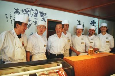 "Belltown sushi restaruant ""Shiro's"" namesake and former chef Shiro Kashiba (third from left), with the restaurant's current chefs staff. (Photo by Ana Sofia Knauf)"