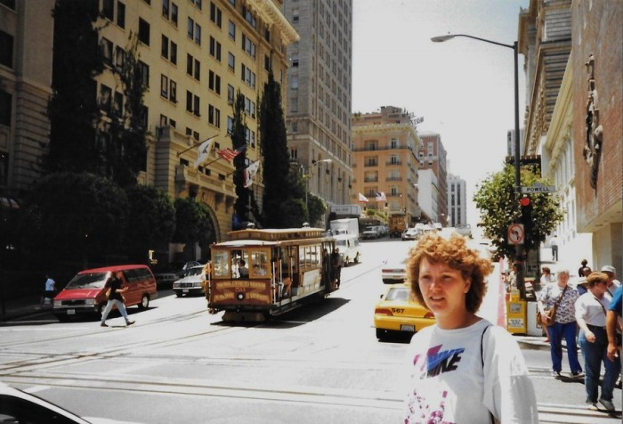 Jane McGrane on her first trip to the US, taken in 1976 in San Francisco. (Photograph courtesy of Jane McGrane)