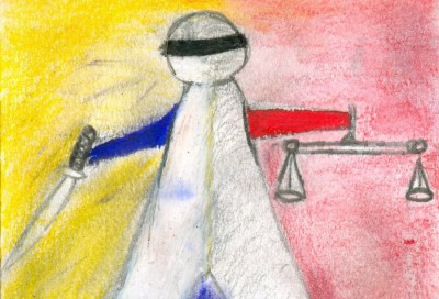 """Ta Kwe Say painted this visual story, recalling the army restoring """"harmony""""— at gunpoint. (""""Forced Over Justice"""" painting by Ta Kwe Say, courtesy of Erika Berg)"""
