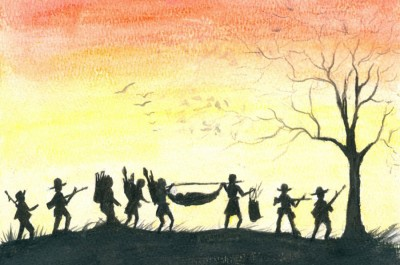 Soldiers from the local ethnic army escorted Kyaw Eh's family as they made the long trek on foot to the Thai-Burma border. As a new day dawned, they counted their blessings. This time, they had only one casualty. (Image by Kyaw Eh courtesy of Erika Berg)