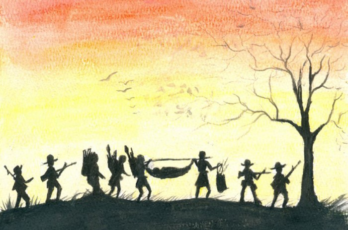 "Soldiers from the local ethnic army escorted Kyaw Eh's family as they made the long trek on foot to the Thai-Burma border. (""Wounded Journey"" painting by Kyaw Eh, courtesy of Erika Berg)"