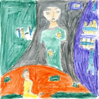 Registered as a refugee in Delhi, the 15-year-old Chin refugee girl who painted this visual story is a rape survivor assaulted in Burma's Chin State — the most impoverished one in the nation. When asked about her dream for the future, she shared her vision of opening a rape crisis center for refugee women and girls in Delhi. (Image courtesy of Erika Berg)