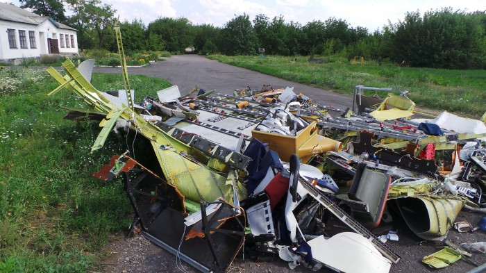 Wreckage of Malaysia Airlines Flight 17, which crashed in eastern Ukraine in July, after it was apparently shot down by pro-Russian separatists. (Photo by Jeroen Akkermans)