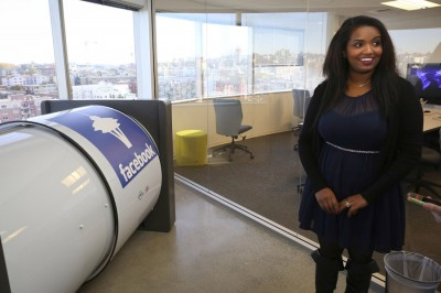 One of Selam Zecharias's perks at Facebook's Seattle office is this common area which has a cocoon-style nap pod. (Photo by Ken Lambert / The Seattle Times)