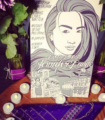 A makeshift altar at Inay's, fashioned by Seattle mourners and organizers. (Photo by Henry Luke)