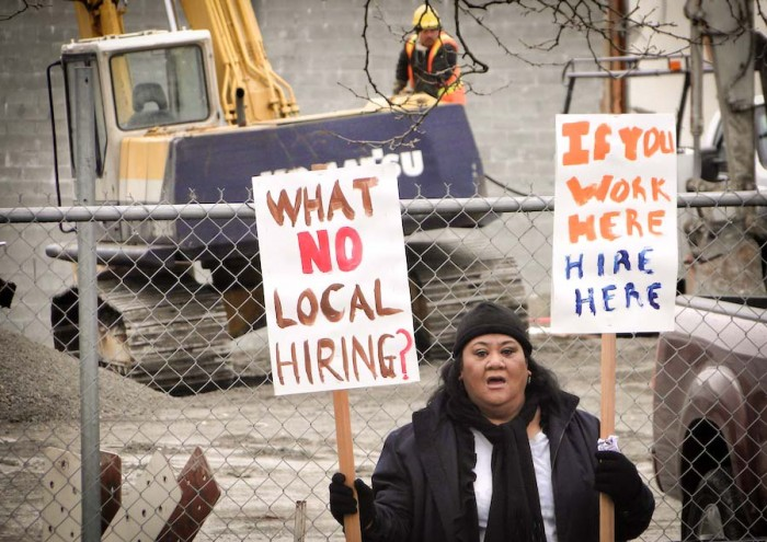 Violet Lavatai protests outside of a construction site in Rainier Beach in 2012 with Got Green. (Photo courtesy Got Green)